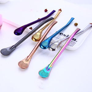 Stainless Steel Straws Metal Drinking Straws Filter Stirring Spoon Straws For Yerba Mate Tea Bombilla Gourd Drink Accessories EEA1392