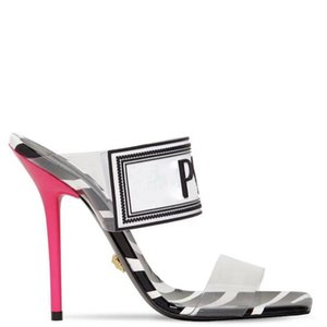 Hot Sale Schuhfrauensandelholze Luxus-Designer-Schuhe schieben Sommer-Art- und Stiletto Heels Slippery PVC Pantoffel Big Size 42 43