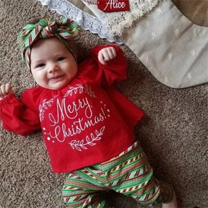 Emmababy linda navidad niños niño del bebé tapas de la camisa de vestir pantalones + + diadema traje