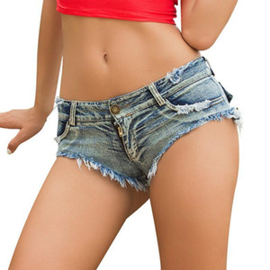 Sexy Ripped Pocket Pole Dance Bar Thong Shorts Jeans Denim Été Mode Bleu Taille Basse Clubwear Parfait Tendance S-L
