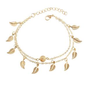 Catena Summer Beach doppie lascia ciondolo Cavigliera piedi fatti a mano perle di Boemia dei calzini del piede gotico Boho argento Gioielli d'oro