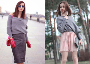 Women Off Shoulder Bat-Wing Sleeves Sweater Jumper Oversized Pullover Loose Waffle Knit Tops
