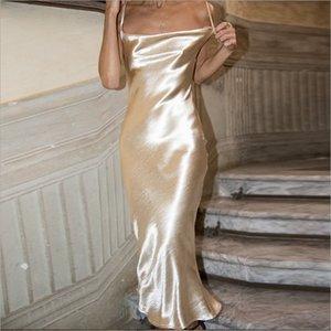 Ate para arriba Glamaker Oro sin espalda bodycon atractivo del satén largo vestido de las mujeres del verano vestido de fiesta elegante blanco Mujer Maxi Club de Playa