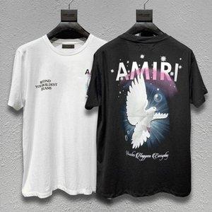 2020 дизайнер высокая улица Европейский и американский улица прилив Амири короткие-рукавами t-рубашка Амири Голубь мира печать нищий случайный