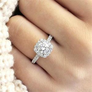 Anelli semplici dell'argento sterlina di cristallo delle donne per l'accessorio dei gioielli del Rhinestone di Accessorio dei gioielli di cerimonia nuziale di fine