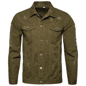 Mens New Cotton Slim Fit куртки пальто вскользь куртки Мода Hole Стиль пальто весна осень зима Твердые Вершины Мужской Куртки