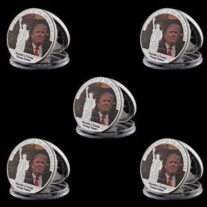 5pcs Der 45. Präsident Donald Trump Silver Coin 999 Silber überzogene Metallmünze für Menschen Kollektionen