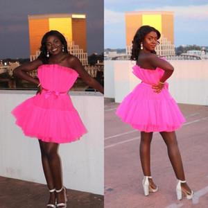 Bow Kanat ile Afrika 2020 Siyah Kız Homecoming Parti Elbise Fuşya Kısa Gelinlik Modelleri Pileleri Dantelli Tül Kokteyl Elbiseleri