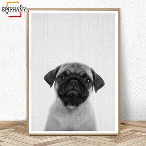 Puppy Dog Wall Art Nursery Decor Animali in bianco e nero Poster Moderno e minimalista Animali Pittura Immagini Cameretta Decorazione