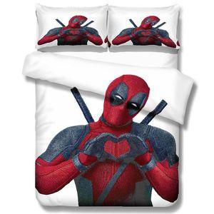 Deadpool 3D Baskı Yatak Seti 10 Size Yorgan Yatak Süper Kahraman Yatak Örtüleri Nevresim Nevresim Yastık kılıfı ayarlar