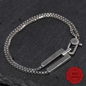 100% S925 sterling silver bracelet personality simple jewelry retro fashion box shape student birthday 2020 hot sale Bracelets