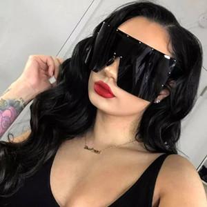 Tendência extragrandes Sunglasses Mulheres óculos de sol de uma peça à prova de vento Goggles Espelho Óculos de sol UV400