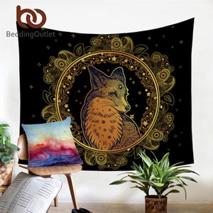 BeddingOutlet Golden Fox Tapestry Wall Hanging Animal Stars Decorative Wall Art Paisley Bedspreads Leaf Leaves Flower Sheet T200601