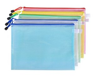 File Bag Waterproof Plastic Zipper Stationery Pencil Storage Bag School Office Supplies Student Stationery A4 Size