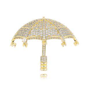 Hip Hop Glacé Collier Umbrella Pendentif Zircon Bijoux Avec 4MM Tennis chaîne pour cadeau