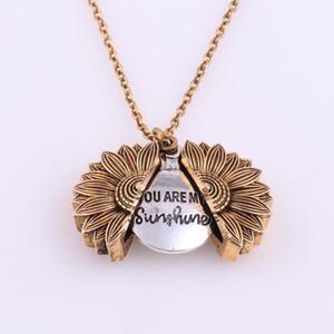 Mode Schreiben Sie meine Sonnenschein-Halskette Sonnenblume Double Layer Gravierte Halskette Kette Gold Halskette Schmuck Valentinstag-Geschenk sind