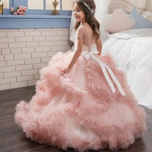 Pink Girl Dresses Cute Tulle Formal Princess Long Kids Dress Pageant Gowns For Girls Wedding Party Dress 2020