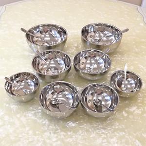 Arts de la table en acier inoxydable Épaississement 2-pièces à double pont Bowl enfants Petit cuillère de riz en acier Bowl Big Round Soup Bowl