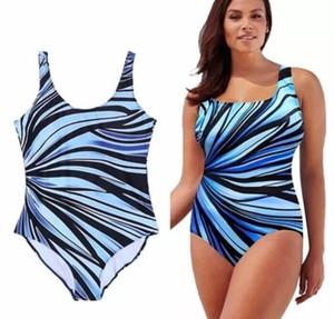 fashion plus Big women's swimwear large fat woman Stripe Print fat one piece bikini swimwear high waist Bikinis 2019 Bikini Sets Triangle