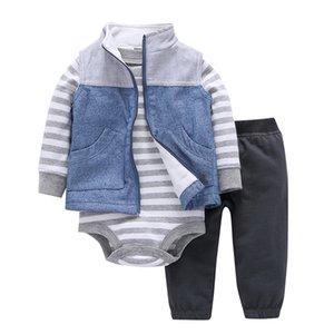 Neugeborenes Baby Mädchen Kleidung Langarm Streifen Bodysuit Hose Mantel Frühling Herbst Outfit Säuglingsanzug Unisex New Born Kostüm J190427