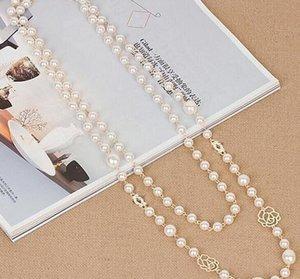 Оптовый люкс Кристалл Эмали Four Leaf Clover ожерелье Длинной жемчужина цепи свитера ожерелье женщина платье костюм аксессуары