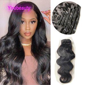 Индийский Девы волос Clip-на наращивание волос 120г Body Wave клипы 8pieces / компл Естественный цвет 8-24inch Оптовая 120Gram