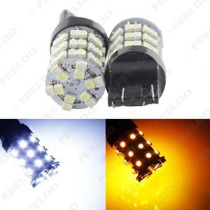 2 개 7443 T20 1210 60SMD 듀얼 컬러 화이트 / 앰버 지그재그 자동차 Turnning 신호 백업 LED 조명 # 1480