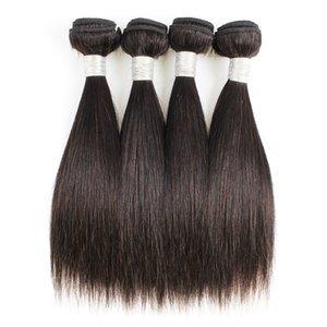 Straight Hair Weave Bundles 4 Pcs 50g pc Color 1B Black Cheap Peruvian Virgin Human Hair Weave Extensions for Short Bob Style