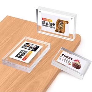 100 * 70 mm de doble cara de acrílico menú Iniciar sesión marco de la foto vertical de escritorio de la tabla del cartel del soporte de exhibición