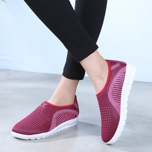 Women Flat Plus Size Breathable Mesh Sneakers Women Slip On Knitting Flats Soft Fashion 2019 Walking Soft Shoes Sneakers #812