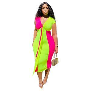 Bayanlar Seksi Kontrast Renk Elbise Kadın Yaz Tasarımcı Artı boyutu V Yaka BODYCON Elbiseler Dişiler Big Bow Sashes Giyim