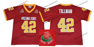 1997 Rose Bowl Arizona State Sun Devis (ASU) Maglia da calcio Pat Tillman 42 College Vintage Pat Tillman Maroon Cucita camicie