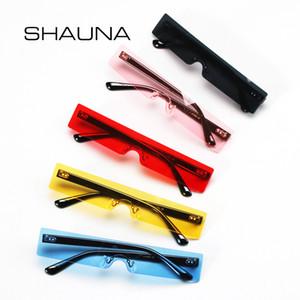 SHAUNA Ins Populaire petit rectangle Lunettes de soleil Femmes Mode rouge clair Rimless Shades Men UV400