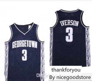 NCAA Mens Georgetown Hoyas College Jersey Cheap 3 Iverson University Basketball Jerseys Size S-2XL Quick delivery s