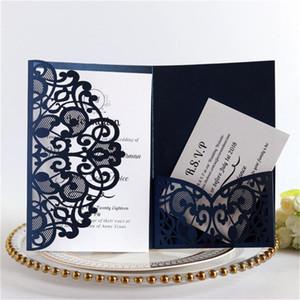 100pcs elegante Azul Branco Luxo Covers cartão do convite do ouro Laser Cut Lace Wedding cumprimentam Supplies cartão decor partido