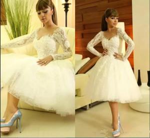 Длина до колен свадебные платья 2020 с длинным рукавом иллюзия лиф короткие кружевные аппликации бусины страна пляж сад свадебные платья vestido de novia