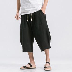Мода Mens лета дышащий Joggers Хлопок Льняные штаны сплошной цвет теленок Длина Багги Сыпучие Drawstring повседневные брюки мужчины