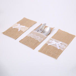 Lace juta portaposate sacchetto custodia utensile biancheria cuore epoca rifornimenti della festa di nozze di Natale la tavola decorazione posate