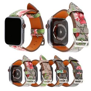 Cuero de lujo de la venda de reloj de Apple 38mm 40mm 42mm 44mm Neutral manera con el modelo de flores IWATCH correa de reloj para la serie de Apple