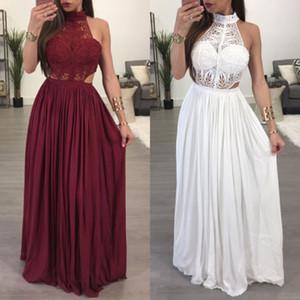 2019 핫 여성 여성 맥시 여름 긴 저녁 파티 드레스 비치 드레스 sundress에 화이트 와인 레드 의류 크기 S-XL