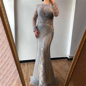 Mãe cinzenta do noivo da noiva Vestidos 2020 Vintage manga comprida com especialização Beads Beadings Mãe Plus Size vestidos de noite formal Vestidos BM1622