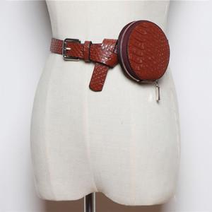 HATCYGGO Belt sacos para as mulheres saco da cintura Mini PU Couro Bloco de Fanny Rodada Feminino de crocodilo preta cintura Packs Bum Bag Mulheres 2019