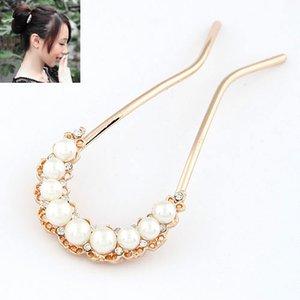 Hot Korean-Style U-Shaped Pearls Rhinestones Hair Pitchfork Embellishment Vintage Retro Comb Fashion Accessories Jewelry Hairpins For Women