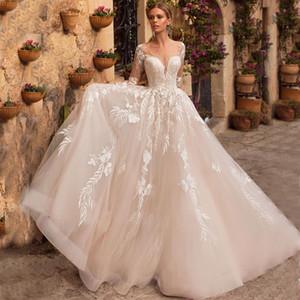 2020 럭셔리 웨딩 드레스 레이스 아플리케 Iillusion 돌아 가기 주문 제작으로 쉬어 목 긴 소매 얇은 명주 그물 신부 가운