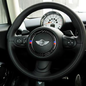 BMW MINI 쿠퍼 S JCW 2007-2013에 대한 탄소 섬유 스티어링 휠 로고 장식 링 커버 트림 스티커