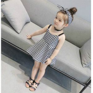 Enfants Designer Girls Dress Marque Fashion Jupe Jupes enfants fille Backless Halter robe mignonne style britannique Plaid Robes Top Quanlity