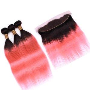 13x4 Tam Dantel Frontal ile # 1B / Rose Gold Ombre Düz İnsan Saç 3Bundles ve Frontal Ombre Pembe Düz Brezilyalı Saç Dokuma Paketler