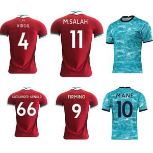 Nouveau 2020-21 Top Player version qualité maillot de foot VIRGILE le football personnalisé MANÉ chemise rouge et bleu M. SALAH