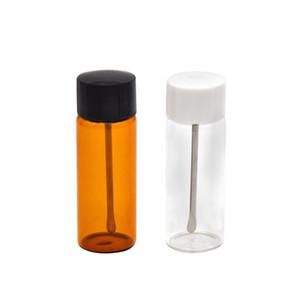 Mini 64 MM Snuff Bottle Com Aço Inoxidável Colher De Metal Snuff Snorter Sniff Sniffer Dispenser Fumaça Nasal Tubo De Vidro Caixa De Comprimidos De Pílula
