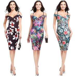 1pc Drop Shipping Service - Womens Sexy V-neck Print fabric Chiffon Dress 9 colors Size S-2XL Style Number 8160